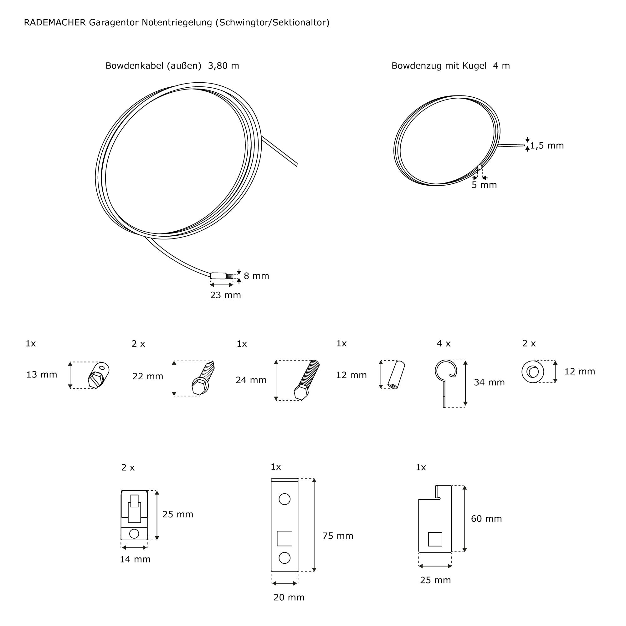 Rademacher Notentriegelung Garagentore Schwing-// Sektionaltor RolloPort S2 SX5