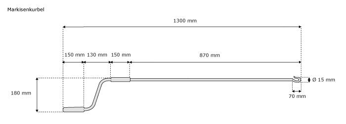 jarolift markisenkurbel 130cm 180cm kurbel f r markise nothandkurbel haken starr ebay. Black Bedroom Furniture Sets. Home Design Ideas