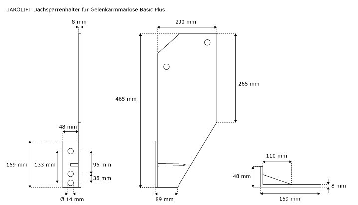 Gelenkarmmarkise dachsparrenhalterung 4 st ck basic plus Markise seitlich befestigen