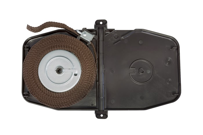 Selve Gurtwickler Aufputz mit Scharniersystem, braun / inkl. 5m Gurt (084843)