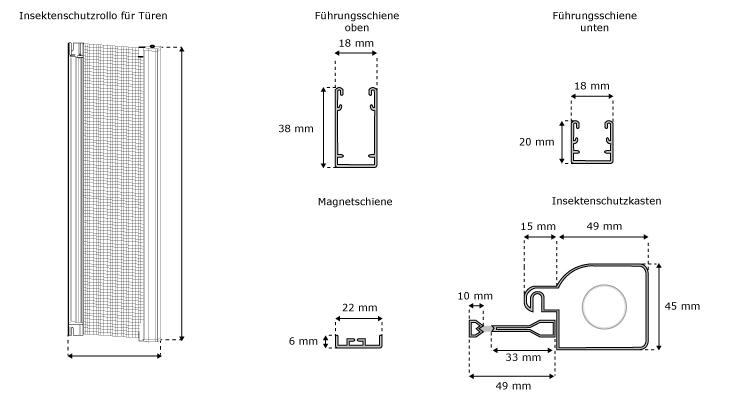 jarolift insektenschutzrollo f r t ren 125 x 220 cm braun. Black Bedroom Furniture Sets. Home Design Ideas