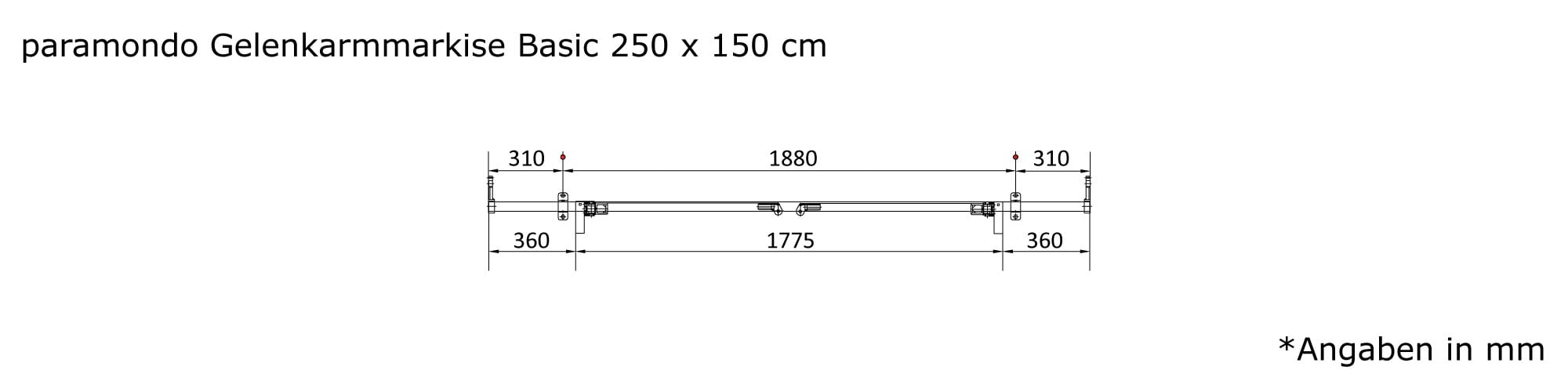 JAROLIFT Gelenkarmmarkise Basic - Abmessungen