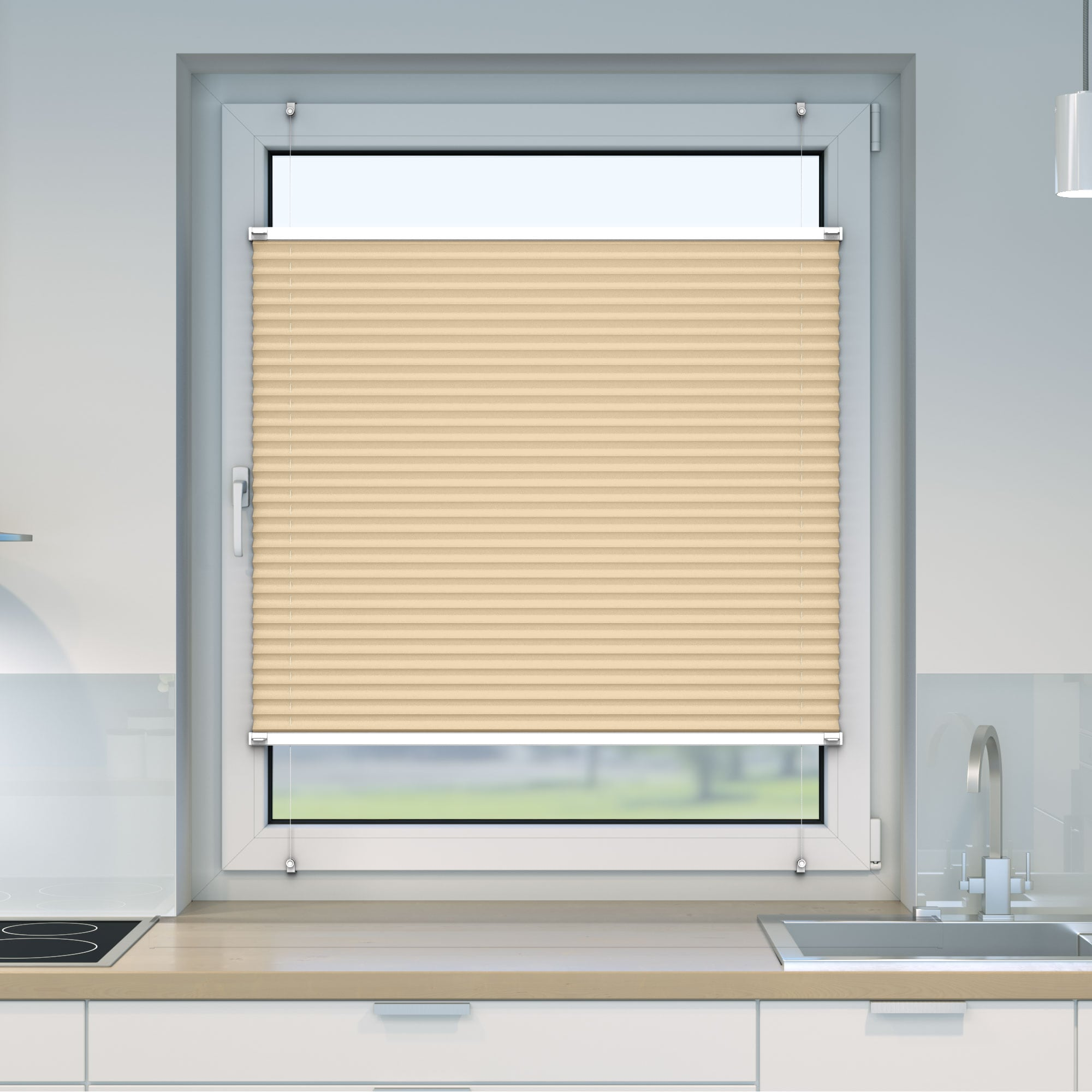 Klemmfix-Plissee-Faltrollo-ohne-Bohren-Fenster-Tuer-Plisseerollo-Plisee-Easyfix Indexbild 11