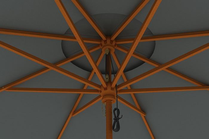 holz sonnenschirm gartenschirm marktschirm 3m holzschirm With französischer balkon mit sonnenschirm schutzhülle 3m