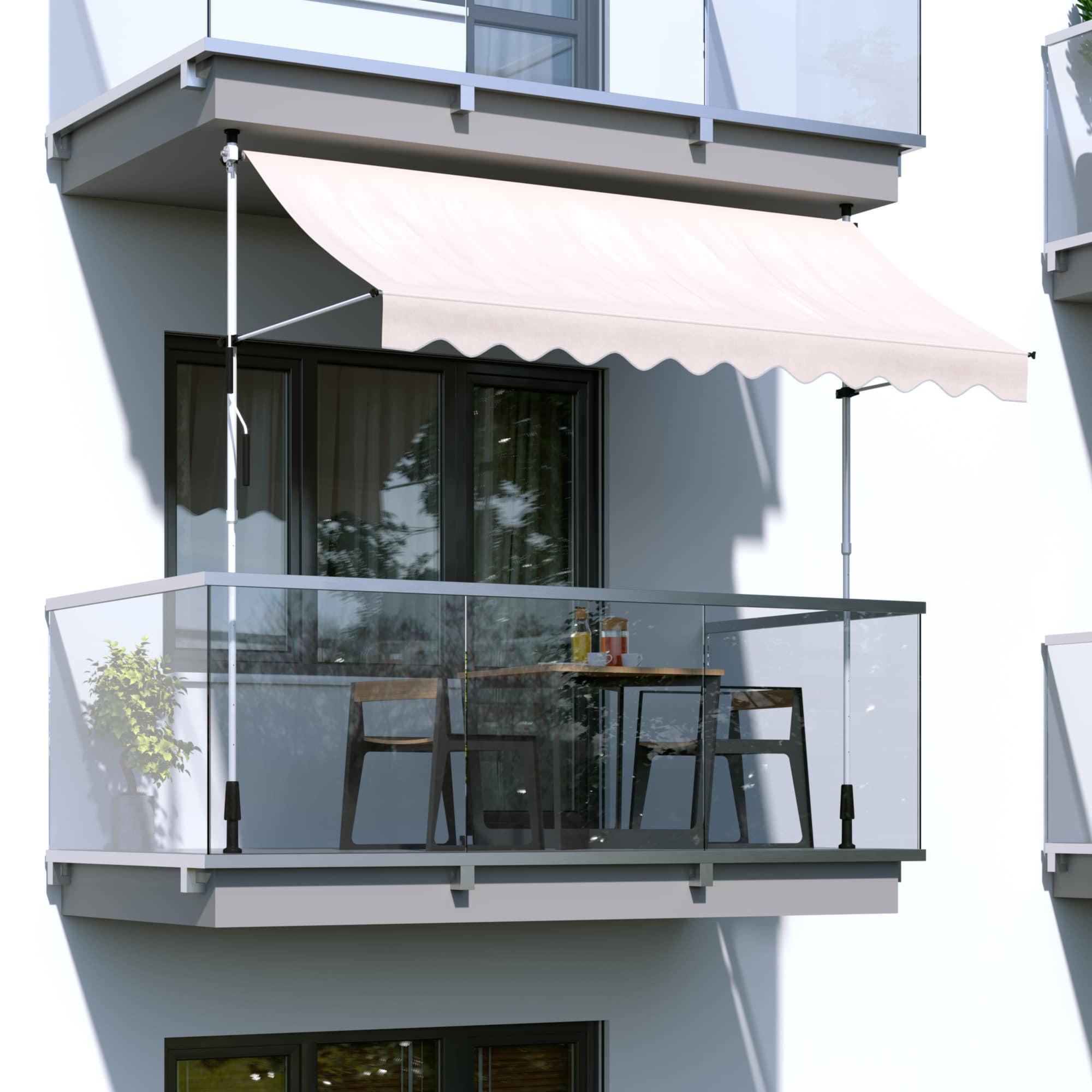 Markise-Balkonmarkise-Klemmmarkise-Garten-Sonnenschutz-einziehbar-ohne-Bohren Indexbild 3