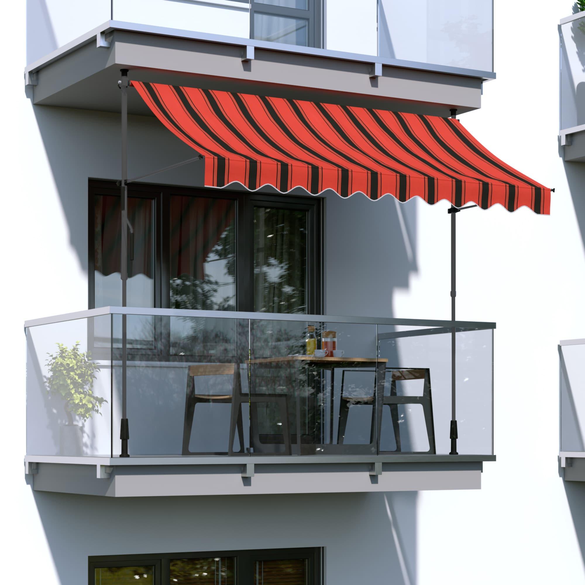 Markise-Balkonmarkise-Klemmmarkise-Garten-Sonnenschutz-einziehbar-ohne-Bohren Indexbild 9