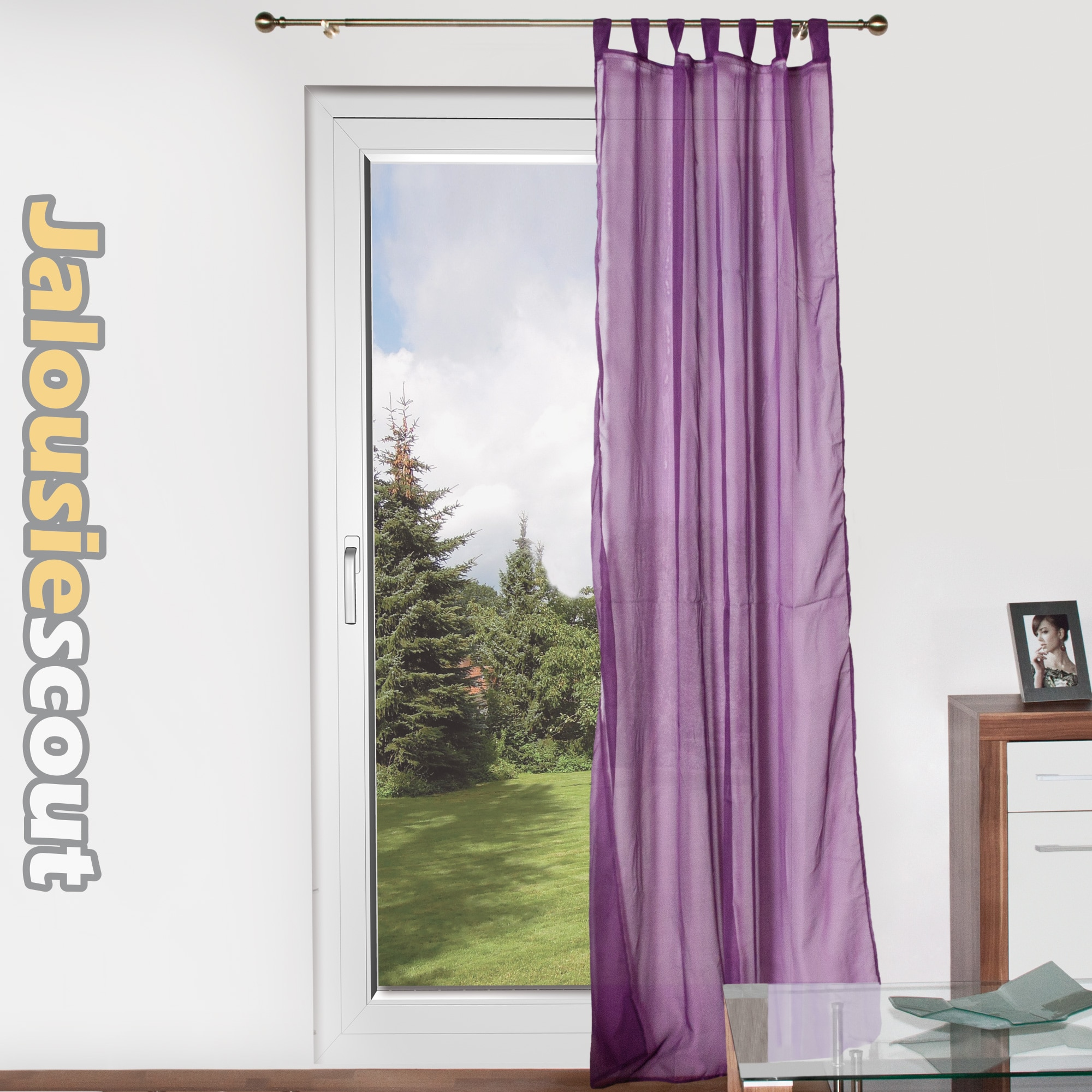 gardinen schlaufenstore voile vorhang fenstergardine stoffvorhang transparent. Black Bedroom Furniture Sets. Home Design Ideas