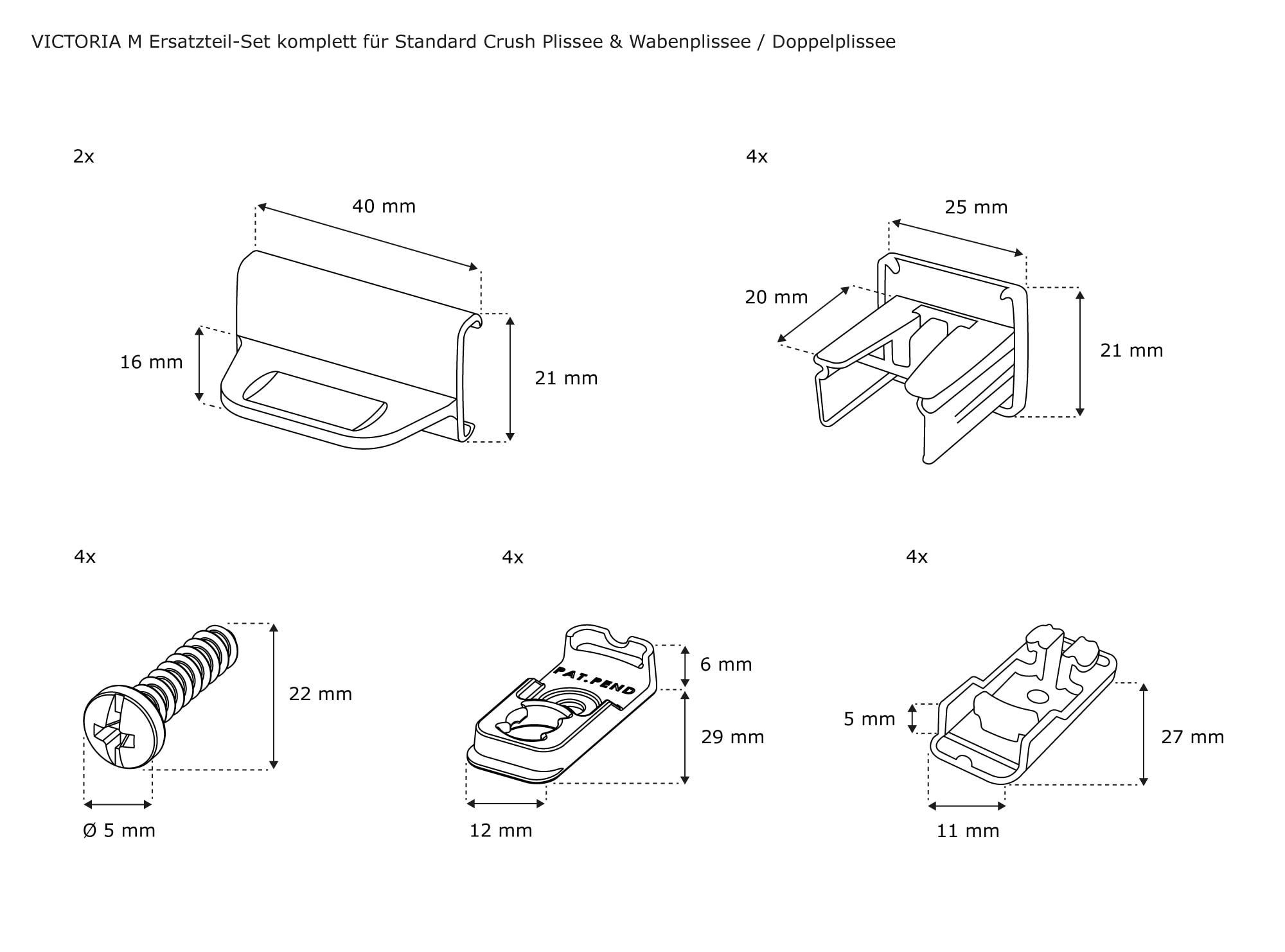 victoria m ersatzteilset plissee set ersatzteile komplettset crush wabenplissee ebay. Black Bedroom Furniture Sets. Home Design Ideas